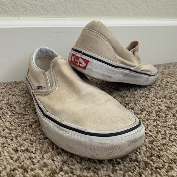 Vans Shoes | Off White Slip Ons | Poshmark